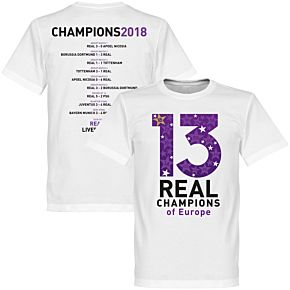 Real 2018 C/L 13 Times Road to Victory Winners KIDS Tee - White