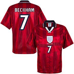 1998 England Away World Cup Finals Retro Shirt + Beckham 7 (Retro Flex Printing)