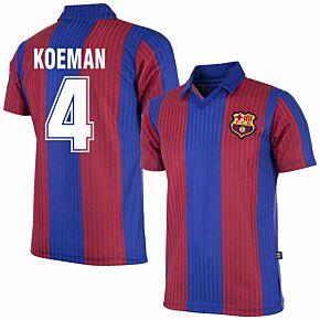 90-91 Barcelona Home Retro Shirt + Koeman 4 (Retro Flock Printing)