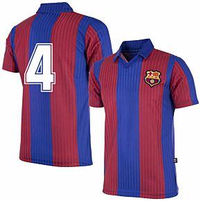 90-91 Barcelona Home Retro Shirt + No.4 (Retro Flock Printing)