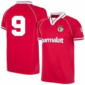 94-95 Benfica Home Retro Shirt + No.9 (Retro Flock Printing)