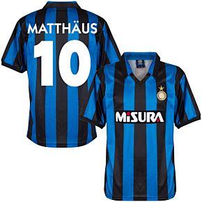 1990 Inter Milan Home Retro Shirt + Matthäus 10 (Retro Flock Printing)
