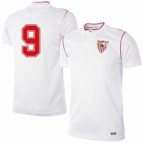 92-93 Sevilla Home Retro Shirt + No.9 (Retro Flock Printing)