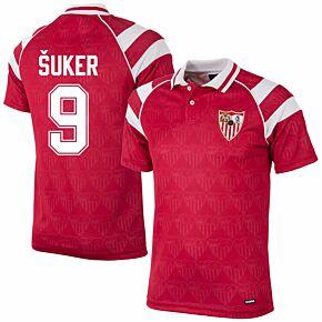 92-93 Sevilla Away Retro Shirt + Šuker 9 (Retro Flock Printing)