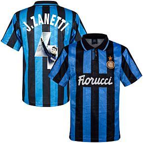 1992 Inter Milan Home Retro Shirt + J.Zanetti 4 (Gallery Style Printing)