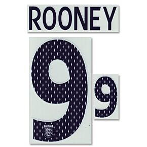 Rooney 9 - 07-09 England Home Official Name & Number - Boys