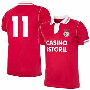 92-93 Benfica Home Retro Shirt + No.11 (Retro Flock Printing)