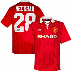 Umbro Man Utd 1992-1994 Home Beckham 28 Premier League Debut Shirt - USED Condition (Great) - Size L