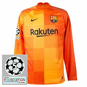 21-22 Barcelona Home L/S GK Shirt + UCL Starball 5 Times Winner + UEFA Foundation Patch Set