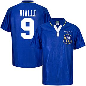 1997 Chelsea Home Retro FA Cup Final Shirt + Vialli 9 (Retro Flock Printing)