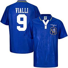 1997 Chelsea Home Retro FA Cup Final Shirt + Vialli 9 (Retro Flock Printing)