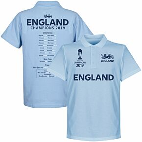England Cricket World Cup Winners Road to Victory Polo Shirt - Sky