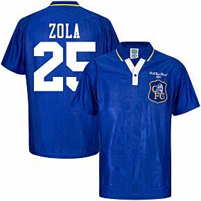 1997 Chelsea Home Retro FA Cup Final Shirt + Zola 25 (Retro Flock Printing)