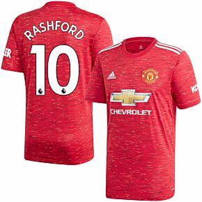 20-21 Man Utd Home Shirt + Rashford 10 (Premier League)