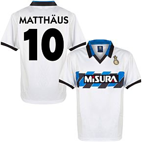 1990 Inter Milan Away Retro Shirt + Matthäus 10 (Retro Flock Printing)