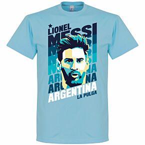 Messi Argentina Portrait KIDS Tee - Sky