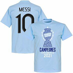 Argentina 2020 Copa America Champions Messi 10 KIDS T-shirt - Sky Blue
