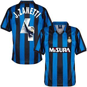 1990 Inter Milan Home Retro Shirt + J.Zanetti 4 (Gallery Style Printing)