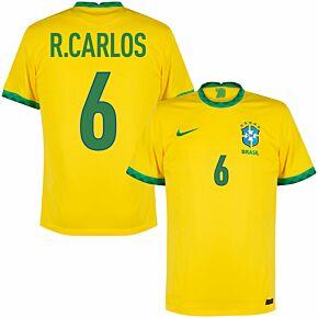 20-21 Brazil Home Shirt + R. Carlos 9 (Fan Style)