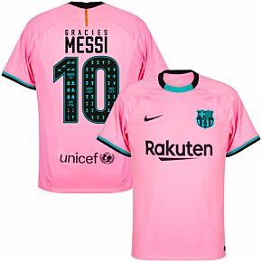 20-21 Barcelona 3rd Shirt + Gràcies Messi 10 (Celebration Printing)