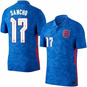 20-21 England Vapor Match Away Shirt + Sancho 17 (Official Printing)
