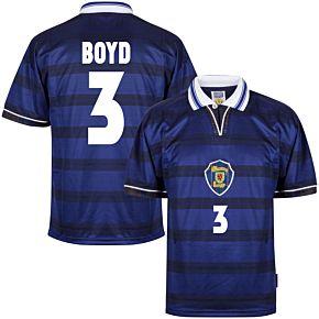 1998 Scotland Home World Cup Finals Retro shirt + Boyd 3 (Retro Flock Printing)