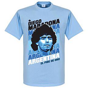 Diego Maradona Portrait Tee - Sky