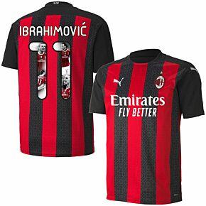 20-21 AC Milan Home Shirt + Ibrahimovic 11 (Gallery Style)