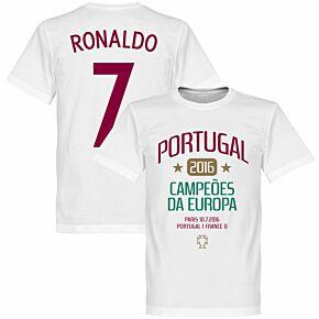 Portugal European Champions 2016 Ronaldo KIDS Tee - White