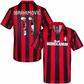 1988 AC Milan Home Retro Shirt + Ibrahimović 11 (Gallery Style Printing)