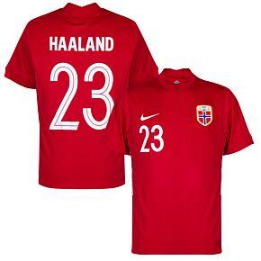 20-21 Norway Home Shirt + Haaland 23 (Fan Style Printing)