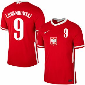 20-21 Poland Away shirt + Lewandowski 9 (Official Printing)