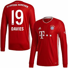 20-21 Bayern Munich Home L/S Shirt + Davies 19