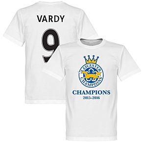 Leicester Champions Vardy Tee - White