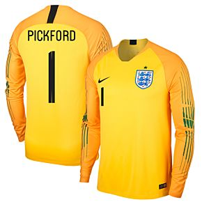 England Home L/S Pickford 1 Goalkeeper Jersey 2018 / 2019 (Fan Style Printing)