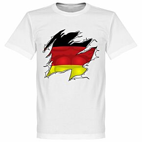 Germany Ripped Flag Tee - White