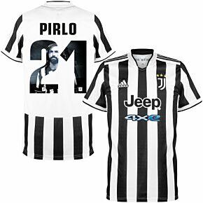 21-22 Juventus Home Shirt + Pirlo 21 (Gallery Style Printing)
