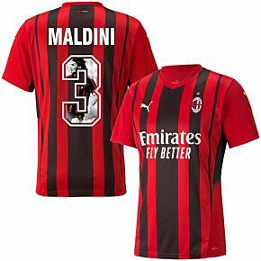 21-22 AC Milan Home Shirt + Maldini 3 (Gallery Printing)