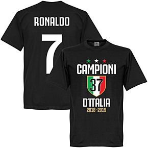 Campioni D'Italia 37 Ronaldo 7 Tee - Black