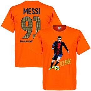 Messi 91 World Record Goals Tee - Orange