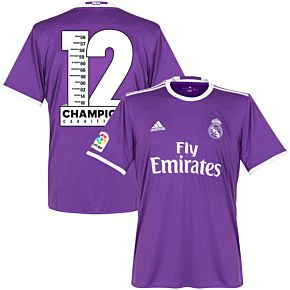 16-17 Real Madrid Away + Jersey incl. Official Champions 12 Print