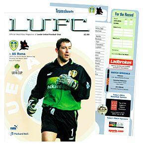 Leeds Utd vs AS Roma UEFA Cup 4th Round 2nd Leg at Elland Road Program - March 7, 2000