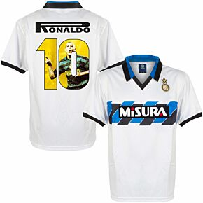 1990 Inter Milan Away Retro Shirt + Ronaldo 10 (Gallery Style Printing)