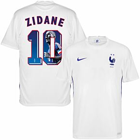 20-21 France Away Shirt + Zidane 10 (1998 Gallery Printing)