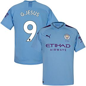 Puma Man City Home G. Jesus 9 Jersey 2019-2020 (Official Premier League Printing)