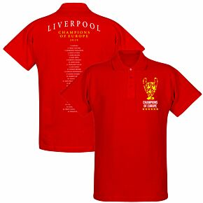 Liverpool Trophy Champions of Europe Squad Polo Shirt - Red