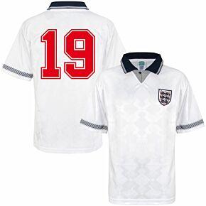 1990 England Home Retro World Cup Finals Shirt + No.19 (Retro Flock Printing)