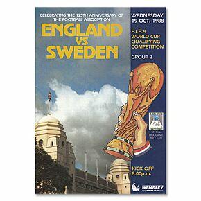 England vs Sweden 1988 World Cup Qualifier at Wembley Stadium Program - 10/19/88
