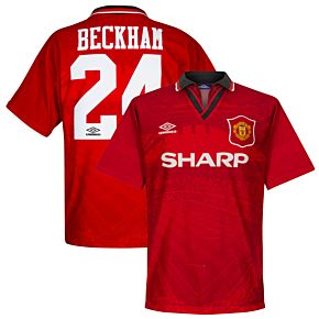 Umbro Man Utd 1994-1996 Home Beckham No.24 Jersey - USED Condition (Very Good) - Size Large