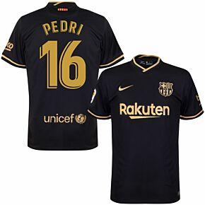 20-21 Barcelona Away Shirt - Kids + Pedri 16 (Fan Style Printing)